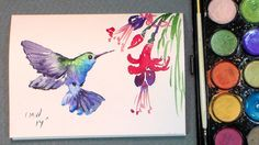 Paint a quick hummingbird in watercolors {quick & easy!}
