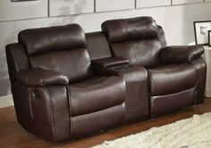 Home Elegance Marille Collection Double Glider Reclining Love Seat with Center Console 9724BRW-2 – Modernklassica