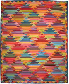 "Haze Kilim from the book, ""Simple Shapes; Spectacular Quilts"" by Kaffe Fassett and Liza Prior Lucy (from Design Tyme by Allison Quilt Designs) Quilting Projects, Quilting Designs, Quilting Ideas, Quilt Design, Southwestern Quilts, Striped Quilt, Quilt Modernen, String Quilts, Scrappy Quilts"