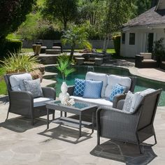 Entertain your guests outdoors with the Savona 4-piece Outdoor Wicker Set. Give them plenty of room and even a place to set their drink or plate. This set comes with plush cushions and a glass top table to complete the refined look for your patio.