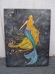 """Copious: original mermaid painting--""""mermAlien"""""""