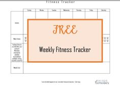 FREE Weekly Fitness Printable - & tips on how to stay in shape/ get in shape during the Holidays
