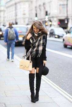 Charming Charlie buffalo plaid scarf//Charming Charlie wide brim floppy hat // Ivanka trump black over-the-knee boots//black sweater dress // Chanel handbag