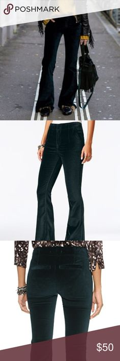 Free People Green Velvet Flare Pants 31 Gorgeous thick velvet fitted pants with a small flare. 2 front pockets, 2 back pockets still sewn shut, no belt loops- high waisted style. Approx. flat measurements: waist-17'', hips-19'', inseam-32.5'', rise-11'', flare-12''. There was a small hole between the clasp closure that I have sewn shut, it is completely unnoticeable and does not affect wear. Free People Pants Boot Cut & Flare