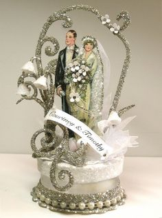 "Patricia Minish Designs  1920's ""Deco"" wedding cake topper handmade"