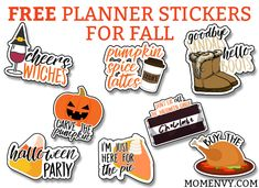Free Fall Planner Stickers. 38 different planner sticker designs on one letter size page. Free SVG and Silhouette files included.
