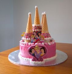 Disney Princess Castle Cake- I think I could do this one. Gracie would love it!!!