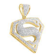 Superman Logo Pendant Mens Lab Diamond In 14k Gold Finish