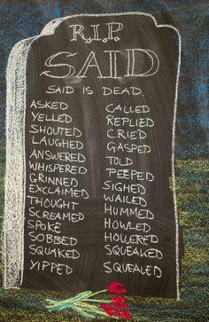 Waldorf ~ 4th grade ~ Language Arts ~ Said is Dead ~ chalkboard drawing