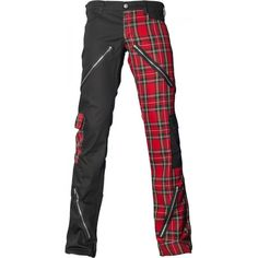 Black and red tartan Freak Pants by Aderlass, from the Black Pistol line of mens gothic clothing.