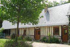 Location vacances maison St Aubin sur Scie: Façade normande côté parking