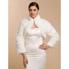 [XmasSale]Manga comprida Faux Fur nupcial do casamento / ocasião especial Enrole / Jacket – BRL R$ 59,57