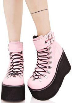 Kawaii Pastel Goth Platform Boots Demonia Sweetie Kera Lace-Up Platform Boots