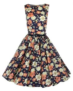 Lindy Bop 50's Audrey Vintage Floral Summer Dress Black