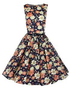 Lindy Bop 50's Audrey Vintage Floral Summer Dress Black