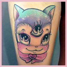 Trippy thirdeye cat tattoo by : Ronja Block
