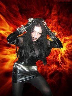 Evil Lucifera, sole member of black metal band Evil Lucifera Black Metal, Heavy Metal, Symphonic Metal, Strip, Metal Bands, Singers, Queens, Goth, Wonder Woman