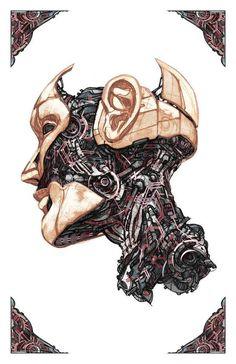 Future Flesh by Billy Nunez, via Behance Cyberpunk Aesthetic, Arte Cyberpunk, Cyberpunk 2077, Art Sketches, Art Drawings, Arte Steampunk, Robot Concept Art, Futuristic Art, Arte Horror