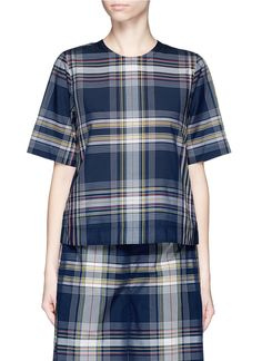 ROSETTA GETTY Madras Plaid Print Cotton-Blend T-Shirt. #rosettagetty #cloth #t-shirt