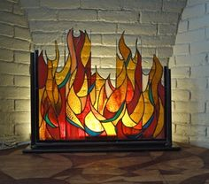 backlight stained glass // Fireplace piece by Diana Cole Faux Stained Glass, Stained Glass Designs, Stained Glass Panels, Stained Glass Projects, Stained Glass Patterns, Leaded Glass, Mosaic Glass, Stained Glass Fireplace Screen, Fireplace Glass