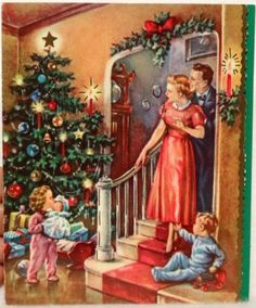 #1483 40s Unused Cozy Tree in the Parlor-Vintage Christmas Greeting Card