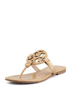 Tory Burch Miller Patent Logo Thong Sandal, Sand by Tory Burch at Neiman Marcus. #shoefettish #toryburch #neimanmarcus