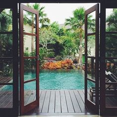 #dream #spaces #home #house #outdoor #living #life #love #pool #brown #deck #wooden #floors #garden #palm #trees #yard #tanning #summer #bright #swimming #water #flowers