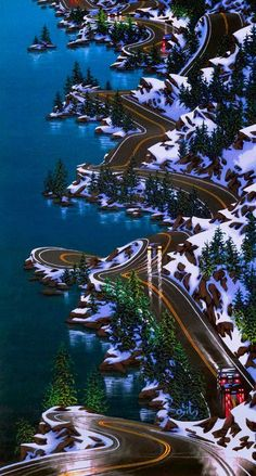 An amazing picture of the Sea to Sky highway to Whistler from the Ian Tan Gallery for Contemporary Canadian Art Please Like their page for more pictures from around BC!   https://fbcdn-sphotos-e-a.akamaihd.net/hphotos-ak-ash3/72642_439640126127616_133388736_n.jpg