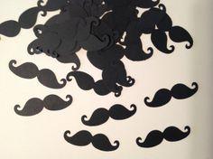 FREE SHIPPING 100 black  mustache confettimustache by jessicasue34, $6.25