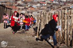 Schuhkarton-Wettrennen in einem Vorort von Ulan Bator.