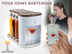 Somabar is raising funds for Somabar: Robotic Bartender for your Home on Kickstarter! Somabar is a Wi-Fi connected craft cocktail appliance created specifically for the home kitchen. Kitchen Liners, White Lounge, Home Technology, Craft Cocktails, White Decor, Kitchen Lighting, Bartender, Kitchen Gadgets, Industrial Design