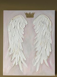"Angel Wings painting I call this painting "" sovereignty "" I've been inspired to paint angel wings for a number of years, now. And these sweet wings desired to be born today. I love the background of petal soft pink, with thick acrylic paint forming the dimensional Wings. They actually"