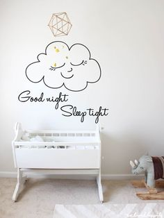 Nursery Decal Good Night Sleep Tight | Cloud Decal | Kids Wall Decal | Wall Decor | Vinyl Wall Sticker | Inspirational Quote | Vinyl Decal by LetTheWallsSpeak on Etsy