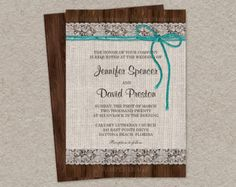 Printable Burlap And Lace Wedding Invitation, Printable Rustic Wedding Invitation, DIY Rustic Wedding Invitations, Burlap Wedding Invitation