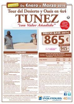 """TUNEZ Tour del Desierto y Oasis 4x4""""valor añadido"""" sal.20/01 al 31/03 dsd Bcn y Mad  p.f. 945€ ultimo minuto - http://zocotours.com/tunez-tour-del-desierto-y-oasis-4x4valor-anadido-sal-2001-al-3103-dsd-bcn-y-mad-p-f-945e-ultimo-minuto/"""
