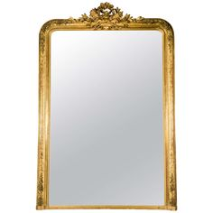 19th Century Very Large Giltwood Mirror, Louis Philippe Period   From a unique collection of antique and modern mantel mirrors and fireplace mirrors at https://www.1stdibs.com/furniture/mirrors/mantel-mirrors-fireplace-mirrors/