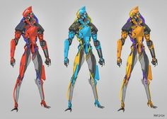 A robot sketch with color variations inspired by some of my childhood transformer toys.
