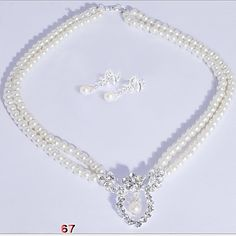 Wedding Pearl Jewelry Set(Earrings & Necklace)  - USD $ 10.99