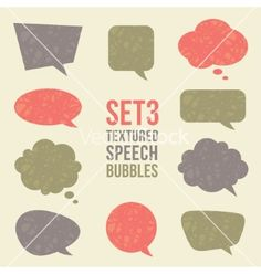 Textured speech bubbles set vector - by maglyvi on VectorStock®