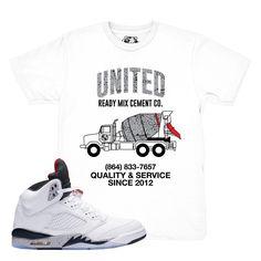 72f71976e7a75d Air Jordan 5 White Cement T-Shirt Cool Jordans