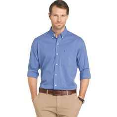 Roam around town in complete comfort with this men's button-down shirt from IZOD. Nate Archibald, Big & Tall, Gossip Girl, Light Blue, Button Down Shirt, Men Casual, Plaid, Shirt Dress, Sports