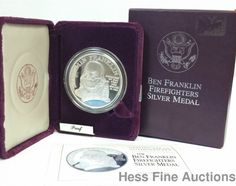 Ben Franklin Firefighters 999 Fine Silver Medal Proof Coin w Box Cert