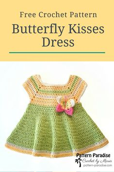 Free Crochet Pattern: Butterfly Kisses Dress Pattern Paradise - This is a classic dress for a baby. It's fun and easy to make and can be customized with different colors, stripes and more! Crochet Baby Dress Free Pattern, Black Crochet Dress, Baby Dress Patterns, Baby Clothes Patterns, Crochet Patterns, Kids Crochet, Crochet Dresses, Crochet Dress Girl, Crochet Ruffle