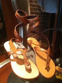 Burnt Orange Snake Ankle Wrap.  Leather Fashion Sandal