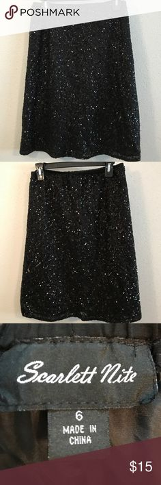 Black sequenced fitted skirt Black sequenced fitted skirt Scarlett Nite Skirts Midi