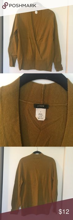J.crew sweater Moss green J.Crew sweater. Never been used. Pull over head. Deep cross over v neckline. Wool/ nylon/ cashmere blend . J. Crew Sweaters V-Necks