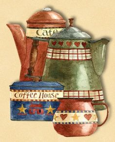 I varieté Reed for Decoupage: For tea . I Love Coffee, Coffee Art, My Coffee, Coffee Break, Coffee Poster, Pintura Country, Country Paintings, Illustration, Country Art
