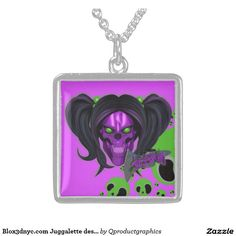 Blox3dnyc.com Juggalette design Square Pendant Necklace.  #juggalette #juggalo #family #teen #girl, #horrorcore #wicked