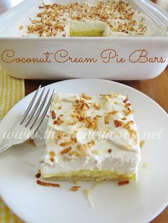 Mommys Kitchen: The Country Cook Stops by with Coconut Cream Pie Bars