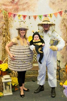 Bee family costume... THIS IS PERFECT!!! I've been telling all my friends that I was going to be a queen bee for Halloween and Isabella was going to be a bumble bee and I didn't know what Ardie should be lol